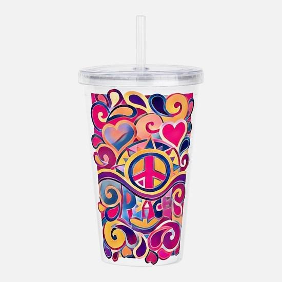 Colorful Hippie Art Acrylic Double-wall Tumbler
