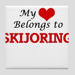 My heart belongs to Skijoring Tile Coaster