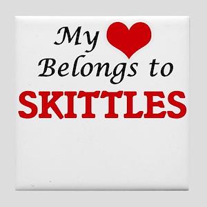 My heart belongs to Skittles Tile Coaster