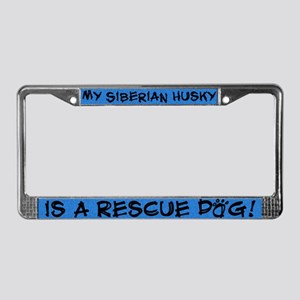 Rescue Dog Siberian Husky License Plate Frame