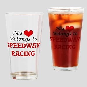 My heart belongs to Speedway Racing Drinking Glass