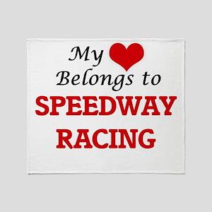 My heart belongs to Speedway Racing Throw Blanket