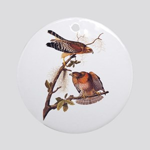 Red Shouldered Hawk Vintage Audubon Art Round Orna