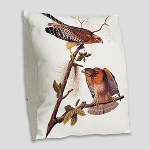 Red Shouldered Hawk Vintage Audubon Art Burlap Thr