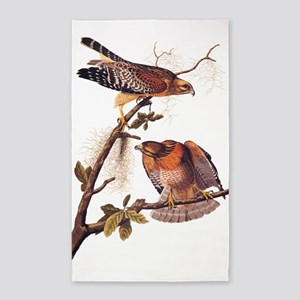 Red Shouldered Hawk Vintage Audubon Art Area Rug