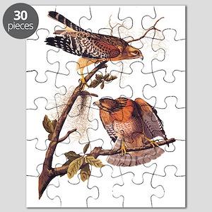 Red Shouldered Hawk Vintage Audubon Art Puzzle
