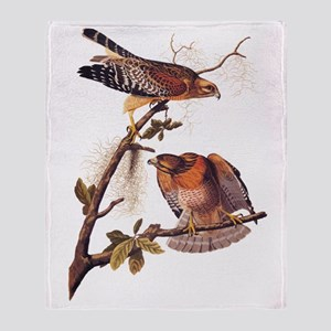 Red Shouldered Hawk Vintage Audubon Art Throw Blan