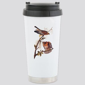 Red Shouldered Hawk Vintage Audubon Art Travel Mug