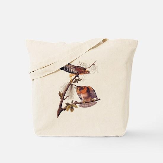 Red Shouldered Hawk Vintage Audubon Art Tote Bag