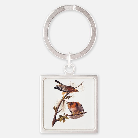 Red Shouldered Hawk Vintage Audubon Art Keychains