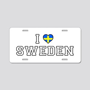 I Love Sweden Aluminum License Plate