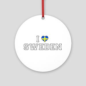 I Love Sweden Round Ornament