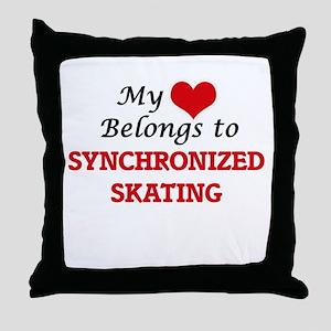 My heart belongs to Synchronized Skat Throw Pillow