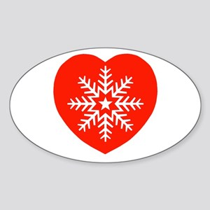 Snowflake Heart Oval Sticker