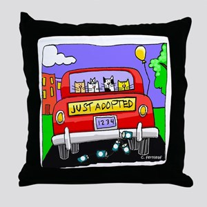 Just Adopted: Cats Throw Pillow