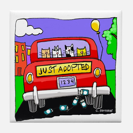 Just Adopted: Cats Tile Coaster