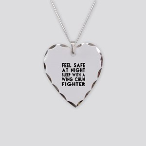Feel Safe With Wing Chun Figh Necklace Heart Charm