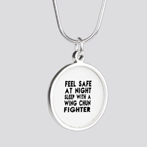 Feel Safe With Wing Chun Fig Silver Round Necklace
