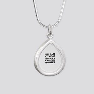 Feel Safe With Wing Chun Silver Teardrop Necklace