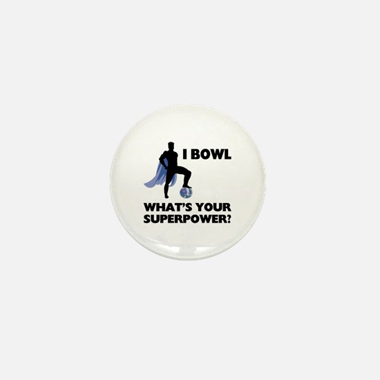 Bowling Superhero Mini Button