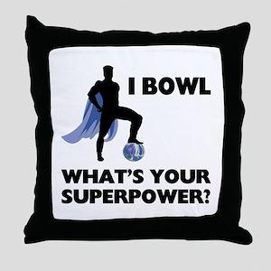 Bowling Superhero Throw Pillow