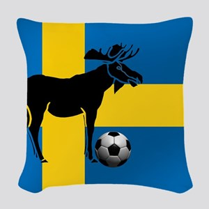 Swedish Soccer Elk Flag Woven Throw Pillow