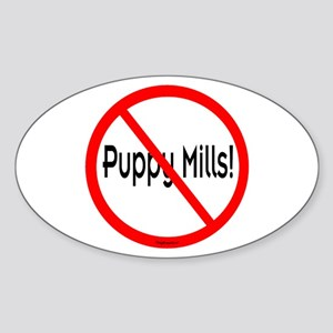 No Puppy Mills Sticker #2 (Oval)
