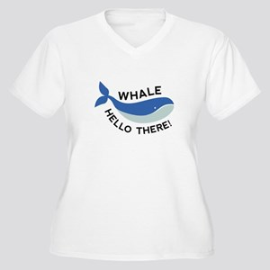 Whale Hello There! Women's Plus Size V-Neck T-Shir