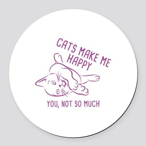 Cats Make Me Happy Round Car Magnet