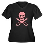 Pink Jolly Cropper Women's Plus Size V-Neck Dark T