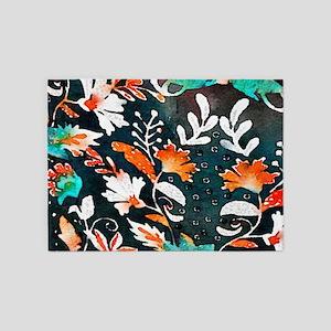 wildflower watercolor scandinavian 5'x7'Area Rug
