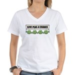 Give Peas A Chance Women's V-Neck T-Shirt