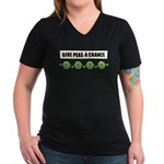 Give Peas A Chance Women's V-Neck Dark T-Shirt