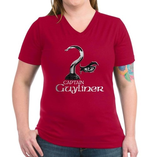 Captain Guyliner Women's V-Neck Dark T-Shirt