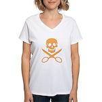 Orange Jolly Cropper Women's V-Neck T-Shirt