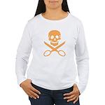 Orange Jolly Cropper Women's Long Sleeve T-Shirt