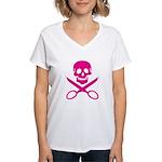 Fuchsia Jolly Cropper Women's V-Neck T-Shirt