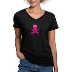 Fuchsia Jolly Cropper Women's V-Neck Dark T-Shirt