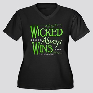 Wicked Alway Women's Plus Size V-Neck Dark T-Shirt