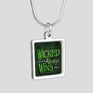 Wicked Always Wins Silver Square Necklace