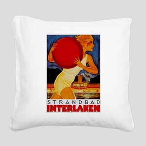 Interlaken Switzerland Travel Square Canvas Pillow