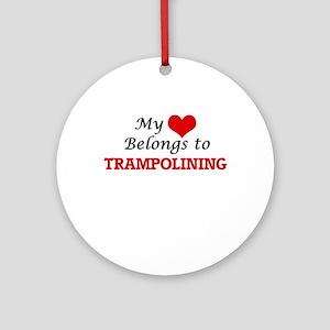 My heart belongs to Trampolining Round Ornament