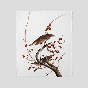 Hermit Thrush Vintage Audubon Art Throw Blanket