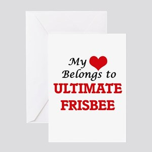 My heart belongs to Ultimate Frisbe Greeting Cards