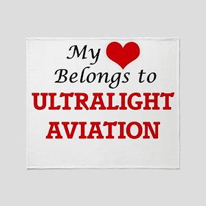 My heart belongs to Ultralight Aviat Throw Blanket