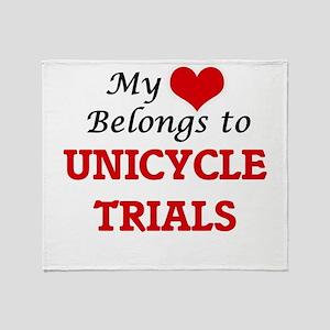 My heart belongs to Unicycle Trials Throw Blanket