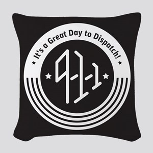 4Logo-911-black-inverse Woven Throw Pillow
