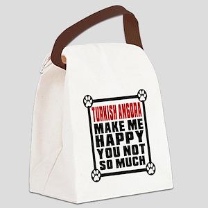 Turkish Angora Cat Make Me Happy Canvas Lunch Bag