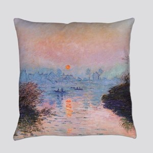 Sunset on the Seine at Lavacourt b Everyday Pillow