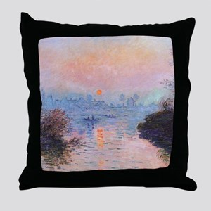 Sunset on the Seine at Lavacourt by C Throw Pillow